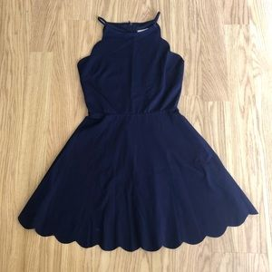 Love...Ady scallop hem halter dress navy M NWOT